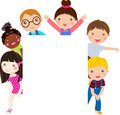 Group of kids and banner cartoon Stock Image