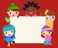 Group of kids and banner cartoon Stock Photos