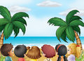 A group of kids at the beach illustration Royalty Free Stock Images