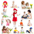 Group of kids or children paint with brush or finger fingers Royalty Free Stock Photos