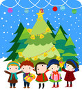 Group of kids and christmas Stock Image