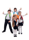 Group of kids happy going back to school about isolated Stock Photo