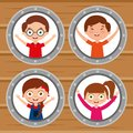 Group kids happy smiling round windows and wooden background