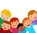Group of kids having fun cartoon Royalty Free Stock Photo