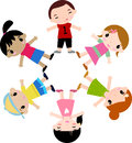 Group of kids having fun cartoon art Stock Images