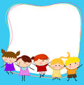 Group of kids having fun and frame cartoon Royalty Free Stock Photography