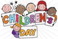 Group of Kids Holding a Greeting Sign for Children`s Day, Vector Illustration