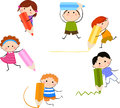 Group of kids and pencil cartoon Stock Photo