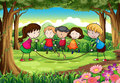 A group of kids playing at the forest illustration Stock Images