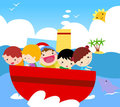 Group of kids on ship Stock Photo