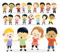 Group of kids singing illustration different nationalities Stock Photography