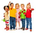 Group of kids spring Stock Photography