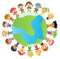 Group of kids standing around the world Royalty Free Stock Photo