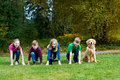 Group of kids at a starting line Royalty Free Stock Photography