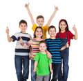 Group of kids with thumbs up sign Royalty Free Stock Photos
