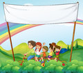A group of kids under the empty signage illustration Royalty Free Stock Photography