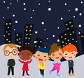 Group of kids winter cartoon Royalty Free Stock Photos