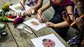 Group of kindergarten kids friends drawing art class outdoors Royalty Free Stock Photo