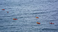Group kyaking in the adriatic sea croatia near dubrovnik sept of people together Stock Image