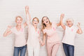 Group of ladies cheering Royalty Free Stock Photo