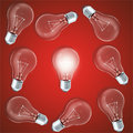 Group of lamp bulbs on red background with glowing bulbs. Concept innovation ideas, 3d rendering