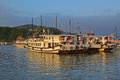 Group of large tourist junk boats without sail docking in halong bay with sunset approaching ha long is a unesco world Stock Photography