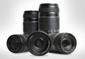 Group of lenses zoom on white background Royalty Free Stock Photography