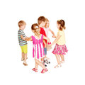 Group of little children dancing holding hands and having fun joyful party isolated on white background Royalty Free Stock Image