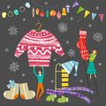 Collection of Christmas and New Year elements. Vector flat design with texture