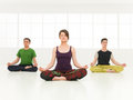 Group lotus yoga posture young women with two boys on a course of in beautiful clean gym Stock Image