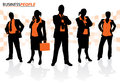 Group of male and female business people illustration a in a dynamic pose depicted as silhouettes Stock Photo