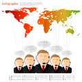 Group of man with speech bubble of information spreading all world Royalty Free Stock Photo