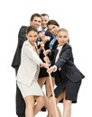 Group of managers pull the rope isolated on white concept teamwork and promotion Stock Images