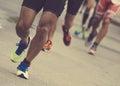 Group Of Marathon Runners.