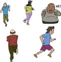 Group of mature runners male and female joggers on isolated background Royalty Free Stock Photo