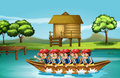 A group of men boating illustration Stock Photo