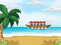 A group of men boating illustration Royalty Free Stock Image
