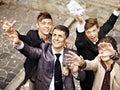 Group men catch bride garter wedding Stock Photos