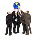 Group of men holding a terrestrial globe Royalty Free Stock Photo