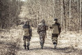 Group of men hunters outgoing on rural road during hunting season Royalty Free Stock Photo