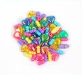 Group of Metallic Hearts and Beads Stock Photography