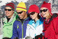 Group Of Middle Aged Couples On Ski Holiday Royalty Free Stock Images