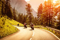 Group of motorcyclists on mountainous road Royalty Free Stock Photo