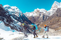 Group Of Mountain Hikers Trave...