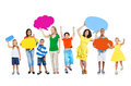 Group of multi ethnic mixed age people holding colorful empty sp speech bubble Stock Images