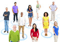 Group of multi ethnic people in a connection themed picture Royalty Free Stock Images
