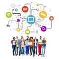 Group Of Multi-Ethnic People Social Networking And Related Symbo Royalty Free Stock Photo