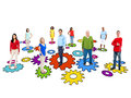 Group of multi ethnic people standing on gears Royalty Free Stock Images