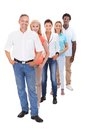 Group of multi ethnic people standing in a row racial on white background Stock Images