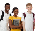 A group of multi racial college students with backpacks and books on a white background Stock Photos